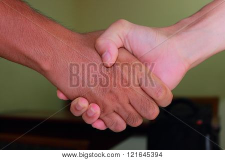 Handshake When Meeting Up With Old Friends Or Business Partners