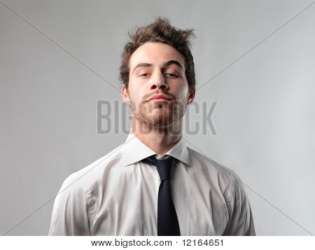 Businessman with snobbish expression