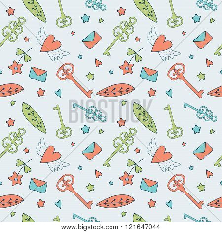 Seamless Floral Pattern. Love Illustration Of Cute Keys, Letters And Flowers.