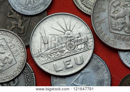 Coins of the Socialist Republic of Romania. Ploughing tractor and sun rising depicted in the Romanian one leu coin (1966).
