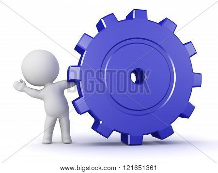 3D Character Waving From Behind Large Gear