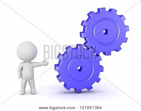3D Character Showing Gears