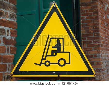 Yellow Fork Lift Truck Operating Warning Sign Transportation Concept