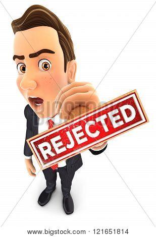 3D Businessman Rejected Stamp