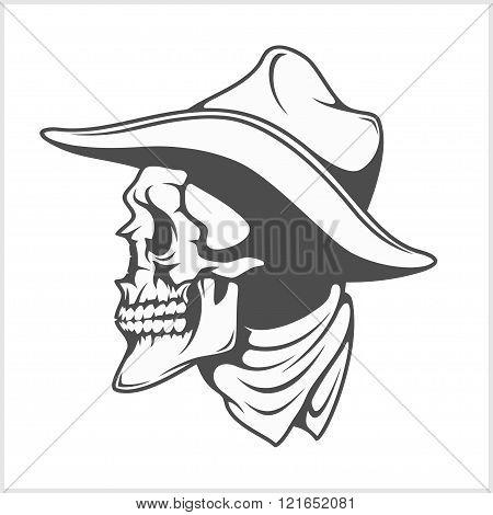 Skull in cowboy hat - gangster