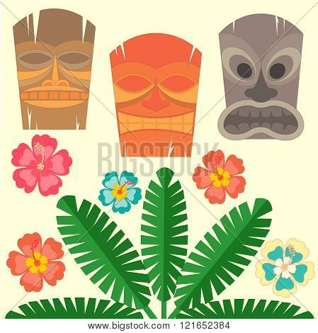 Hawaiian Mask With Tropical Palms And Hibiscus Flowers