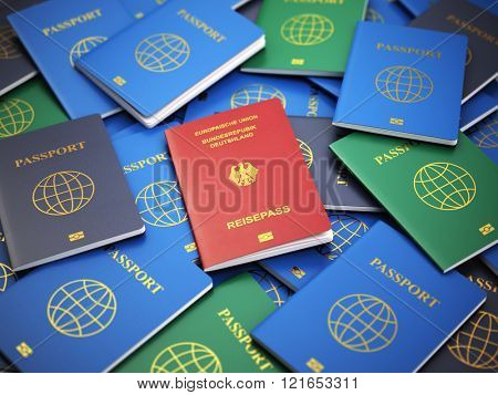 Passport of Germany on the pile of different passports. Immigration concept. 3d