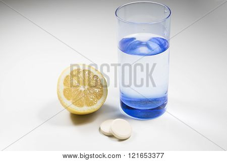 Vitamin C, Lemon And Glass Of Water