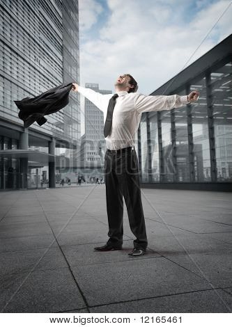 Businessman exulting