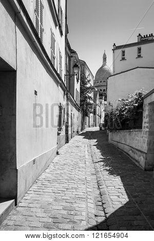 Montmartre In Summer In Black And White, Rue Saint Rustique, Paris, France
