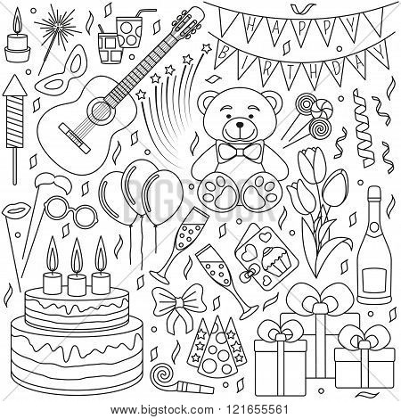 Set of black line icons. Happy birthday and party events. Good elements for banners, invitation card