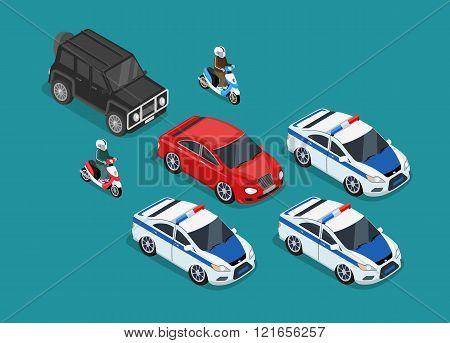 Police Motorcade Car Flat Design
