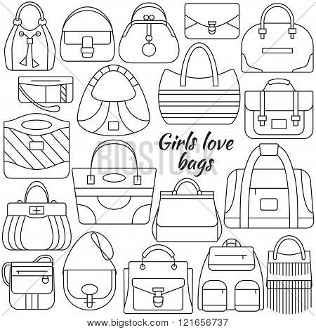 Set of line icon. Different women bags and place for your text. Contour icons. Info graphic elements