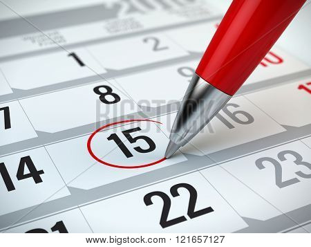 Concept of important day, reminder, organizing time and schedule - red pen marking day of the month on a calendar poster