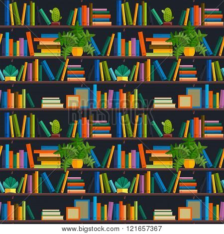 Flat line colorful seamless pattern  of books isolated on white