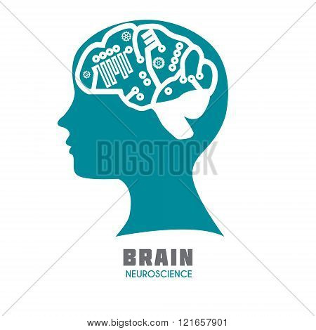 Human head with brain with symbolic brain functions icon..