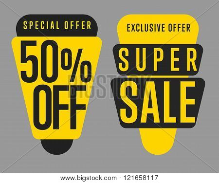 Sale tag vector isolated. Discount sticker. Two different sale tag. Sale sticker with special advertisement offer. Sale tag template. Best price tag. 50% off tag. Special offer tag. Sale label. Special offer sale tag. Tag. Discount tag. Sale banner.