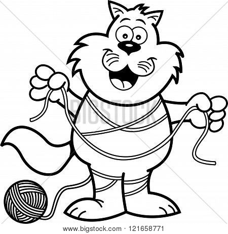 Cartoon cat tangled in yarn.