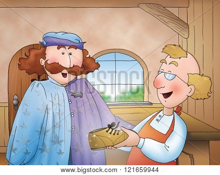 """A noble man buys the magic shoes. Illustration for the folktale """"the elves and the shoemaker"""". poster"""