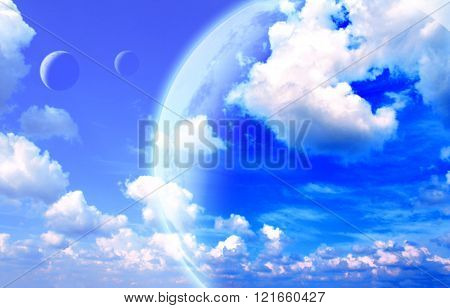 Beautiful sky, cloud and planet. Elements of this image furnished by NASA