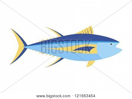 Yellowfin tuna vector cartoon illustration. Yellowfin tuna on white background. Yellowfin tuna vector. Tuna illustration. Tuna isolated vector. poster