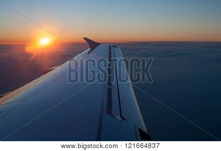Aircraft Jet Wing With Sunset