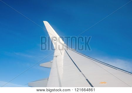Germany, Lufthansa - 21 Junuary  2016 Wing of an in-flight Lufthansa's Airbus 321 during at flight