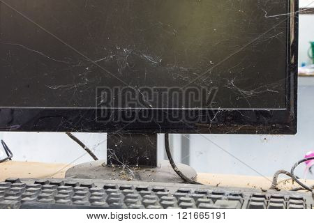 keyboard, computer with full of dust and cobweb