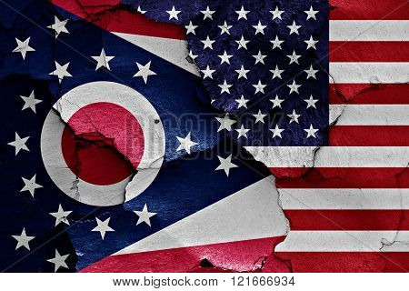 Flags Of Ohio And Usa Painted On Cracked Wall