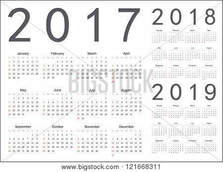 Set Of European 2017, 2018, 2019 Year Vector Calendars