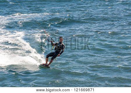 Kite Surfing  In Puertito De Guimar, Tenerife, Canary Islands, Spain