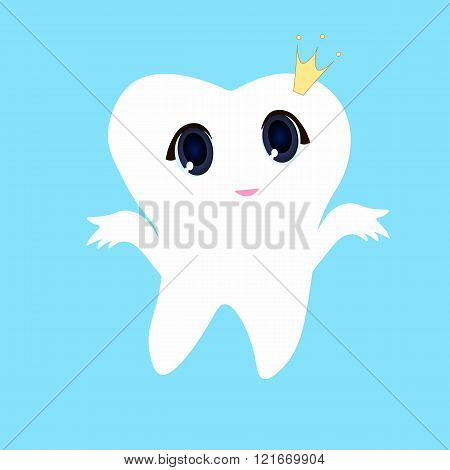 Cute cartoon tooth smiling Card little happy Tooth Fairy white on a blue background teeth vector icon illustration first tooth logo