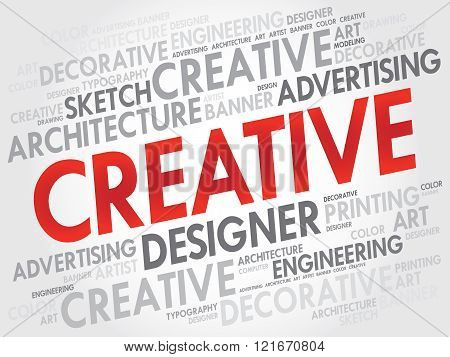 CREATIVE word cloud collage concept, presentation background