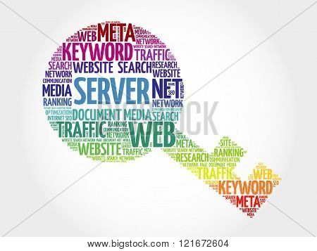 Server Key word cloud business concept, presentation background