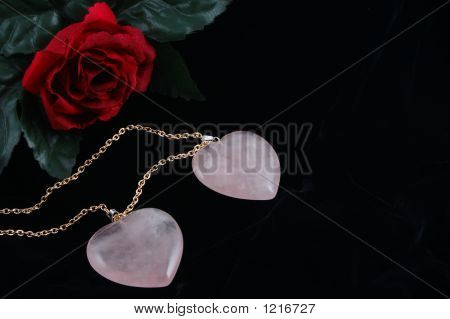 Pink Heart Pendants & Rose