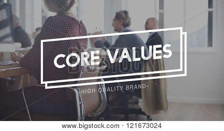 Core Values Ideology Purporse Strategy Principles Concept