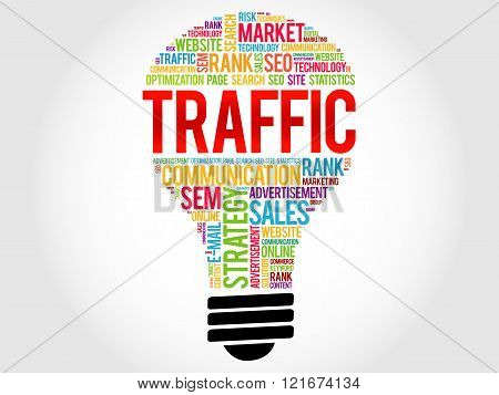 TRAFFIC bulb word cloud business concept, presentation background