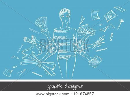 Young girl graphic designer with working tools. Hand-drawn sketch style concept of profession graphic designer. Vector illustration of photography free hand drawing select colors digital drawing.