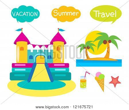 Bouncy Castle Set. Cartoon Illustrations On A White Background. Bouncy Castle Rental.