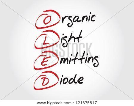 OLED Organic Light-Emitting Diode , acronym concept