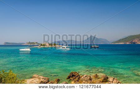 Adriatic sea bay near Fort Arzla. Boat anchorage.