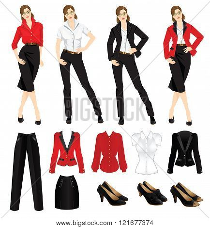 Vector illustration of corporate dress code. Official black shoes. Clothes for women. Business woman or professor in official black formal suit. Woman in glasses. Different color of jacket and blouse poster