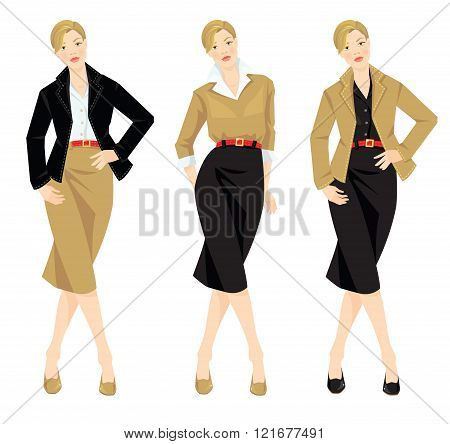 Woman in casual and formal style of clothes.