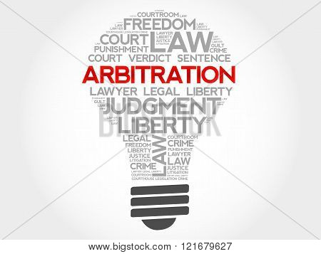 Arbitration bulb word cloud concept, presentation background