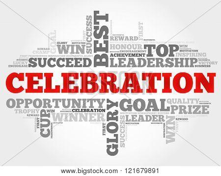 Celebration word cloud business concept, presentation background