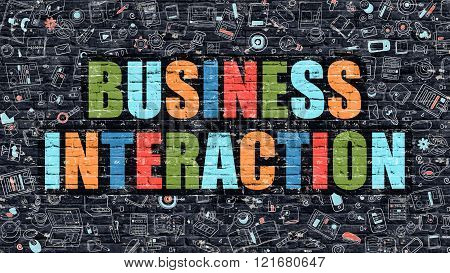 Business Interaction in Multicolor. Doodle Design.