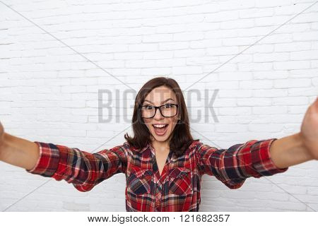 Girl Taking Selfie Smart Phone Photo Camera Excited