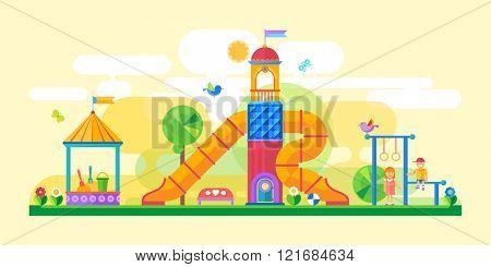 Children's playground. Flat style