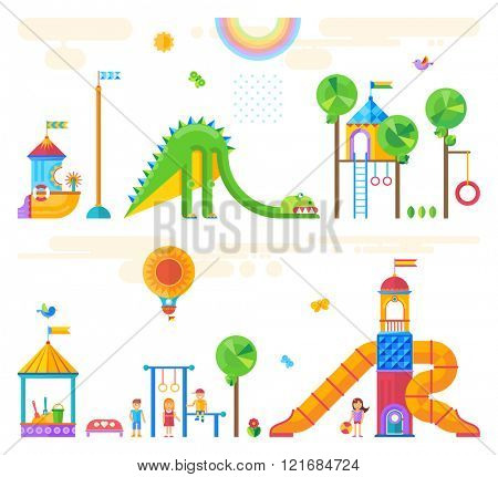 Children's playground. Baby-themed flat stock illustration with isolated elements.