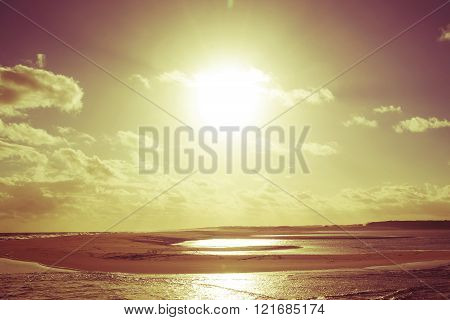 Golden Vintage Summer Beach Sunset